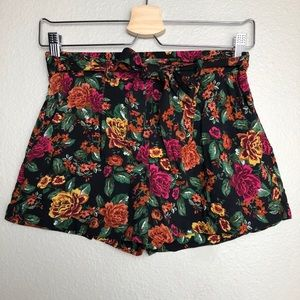 Pants - Black Floral Shorts in Small